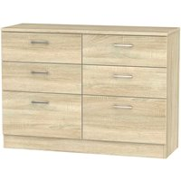 Yelanto 6-Drawer Double Chest of Drawers - Oak