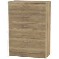 Yelanto 4-Drawer Wide Chest of Drawers - Oak