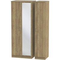 Yelanto 3-Door Wardrobe with Mirror - Oak