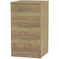Yelanto 3-Drawer Narrow Bedside Cabinet - Oak