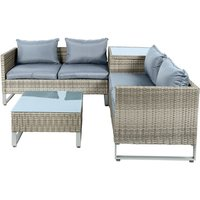 Bonnington Rattan 4 Seater Furniture Set with Table - 4 Piece Set