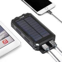 Groov-e Portable Solar Charger 8000mAh with Dual USB - Black