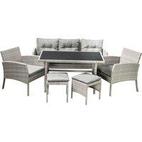 Henry 6pc Rattan Sofa Set - Grey