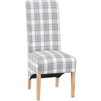 Set of 2 Scroll Back Luxury Dining Chairs - Grey Check