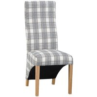 Set of 2 Wave Back Luxury Dining Chairs - Grey Check