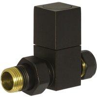 Heating Style Square Straight Radiator Valves - Black