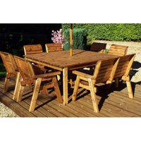 Charles Taylor Eight Seater Deluxe Square Table Set with 1 Bench and chairs