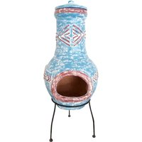 Charles Bentley Clay Aztec Chiminea - Blue