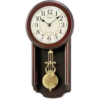 Seiko Westminster/Whittington Dual Chime Wall Clock with Pendulum - Dark Wood