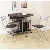 Stowaway Folding Dining Set - Black/Silver