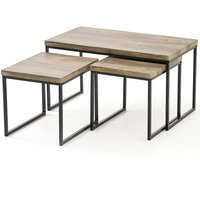 Gablemere Kubik 3pc Coffee Table Set - Grey/Black