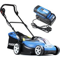 Hyundai HYM60Li380 Cordless Powered Lawnmower 38cm Cutting Width with 60v Lithium-ion Battery and Charger