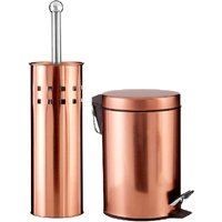 Premier Housewares Rose Gold 2 Piece Bathroom Set - Pedal Bin and Toilet Brush