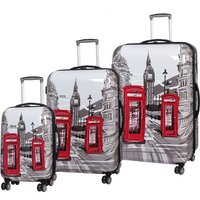 Rock Montana Expandable 8 Wheel Hard Shell Spinner Suitcase - London Sketch Print (3pc set: 55/72/82cm)