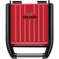 George Foreman Compact 3 Portion Steel Grill - Red