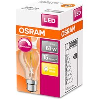 Osram 60W Classic A Filament BC Dimmable LED Bulb - Warm White