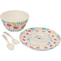 Cambridge Flamingo Bamboo Eco-Friendly Tableware Set - 4 Piece