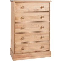 Coleford 5 Drawer Chest of Drawers - Natural Pine