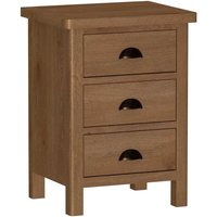 Rosewell Natural Oak 3 Drawer Bedside Cabinet