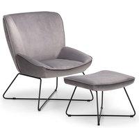 Julian Bowen Mila Velvet Accent Chair With Stool - Grey