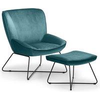 Julian Bowen Mila Velvet Accent Chair with Stool - Teal