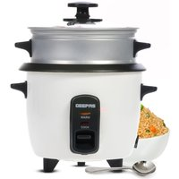 Geepas 0.6L 350W Rice Cooker with Steamer - White