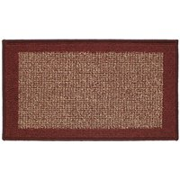 JVL 40x70cm Madras Entrance Door Mat - Beige/Red