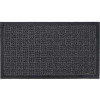 JVL Firth Carpet Rubber Backed Entrance 40 x 70cm Door Mat - Charcoal