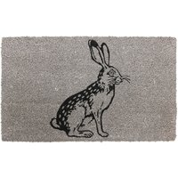 JVL Neutral 45 x 75cm Latex Backed Coir Entrance Door Mat - Rabbit