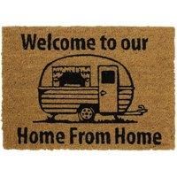 JVL Caravan 36 x 50cm Latex Backed Coir Entrance Door Mat - Welcome To Our Home