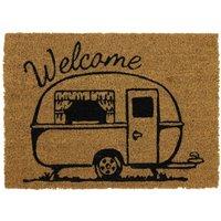 JVL Caravan 36 x 50cm Latex Backed Coir Entrance Door Mat - Welcome
