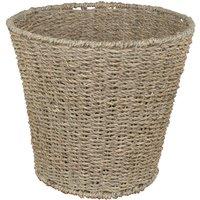 JVL Natural Round Seagrass Waste Paper Basket Bin 28 x 25 cm