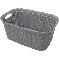 JVL 38L Knit Design Rectangular Linen Washing Basket - Grey