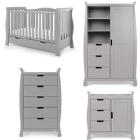 Obaby Stamford Luxe Sleigh 4 Piece Room Set - Warm Grey