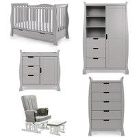 Obaby Stamford Luxe Sleigh 5 Piece Room Set - Warm Grey
