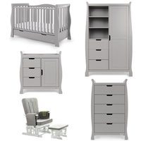 Obaby Stamford Luxe Sleigh 5 Piece Room Set - Warm Grey