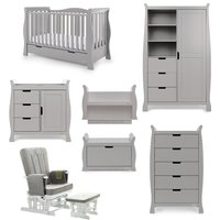 Obaby Stamford Luxe Sleigh 7 Piece Room Set - Warm Grey