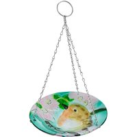 Flamboya Robin Hanging Glass Birdbath