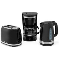 Salter Deco Collection 1.7L Kettle, Drip Coffee Maker, and 2-Slice Cool-Touch Toaster Set - Black and Stainless Steel
