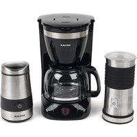Salter COMBO-4073 Coffee Maker, Electric Coffee and Spice Grinder, and Milk Frother Set - Black and Stainless Steel
