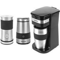 Salter COMBO-4461 To-Go Personal Filter Coffee Machine, Electric Grinder, and Milk Frother Set - Black and Stainless Steel