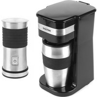 Salter COMBO-4462 Coffee Maker To-Go Personal Filter Coffee Machine and Electric Milk Frother Set - Black and Stainless Steel