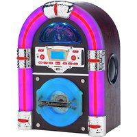Steepletone Jive Rock Sixty Mini Bluetooth Jukebox with Radio, CD Player, MP3 & Aux-in Playback - Dark Wood