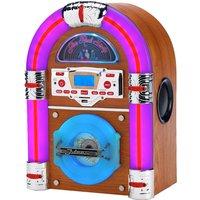 Steepletone Jive Rock Sixty Mini Bluetooth Jukebox with Radio, CD Player, MP3 & Aux-in Playback - Light Wood