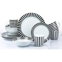 The Waterside 16 Piece Black Stripe Dinner Set