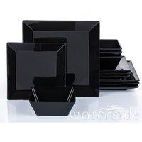 The Waterside 12-Piece Soho Square Dinner Set - Black