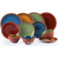 The Waterside 12pc Reactive Glaze Terracotta Dinner Set