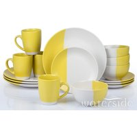 The Waterside 16pc Duo Yellow and White Dinner Set