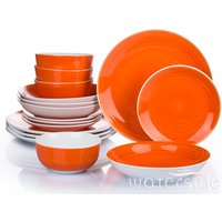 The Waterside 16pc Flame Orange Spin Wash Dinner Set