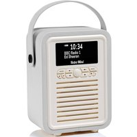 View Quest VQ Retro Mini DAB+ Digital & FM Radio with Bluetooth and Dual Alarm Clock - Light Grey
